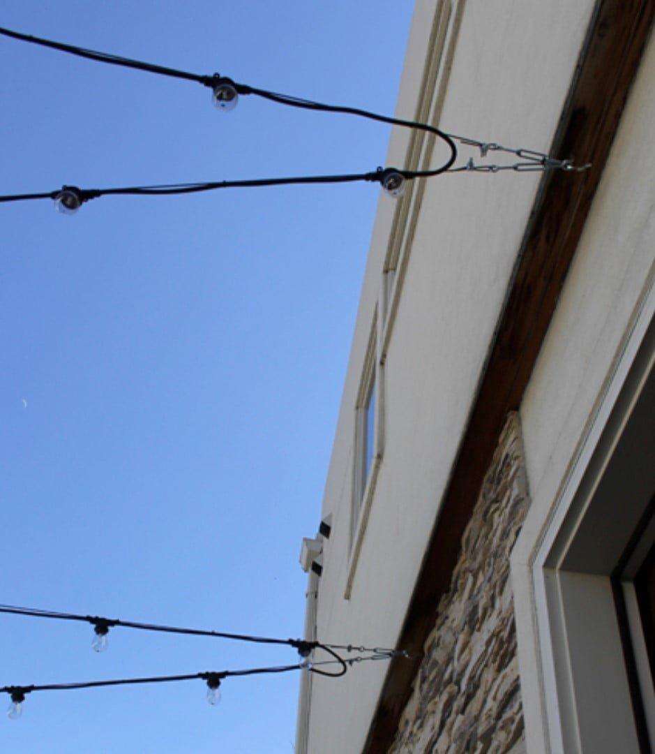 Outdoor lighting catenary wire